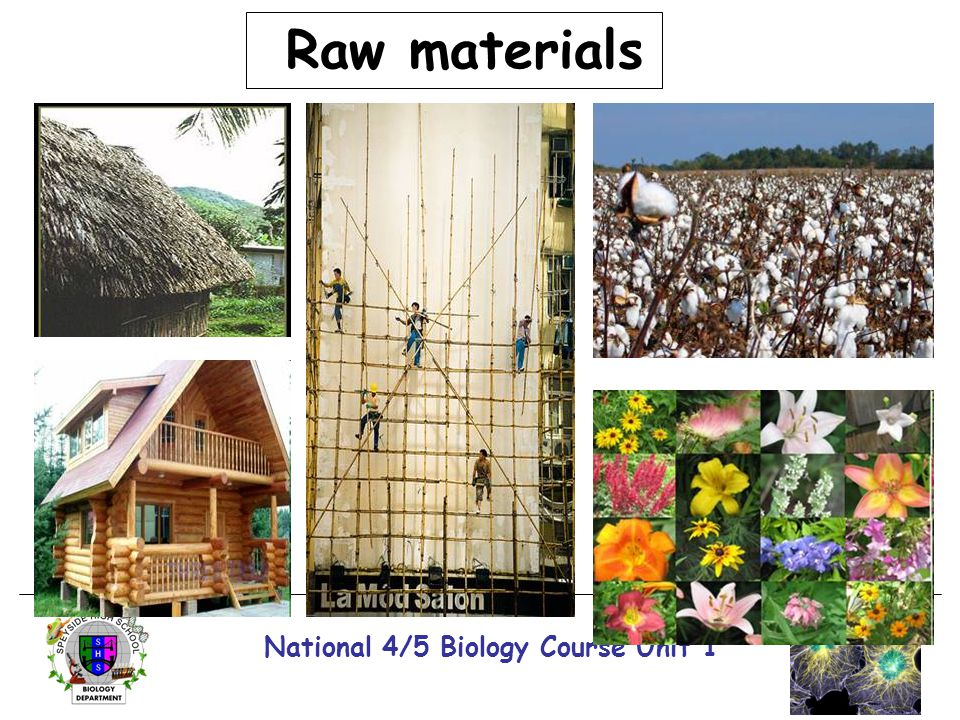 National 4/5 Biology Course Unit 1 Raw materials