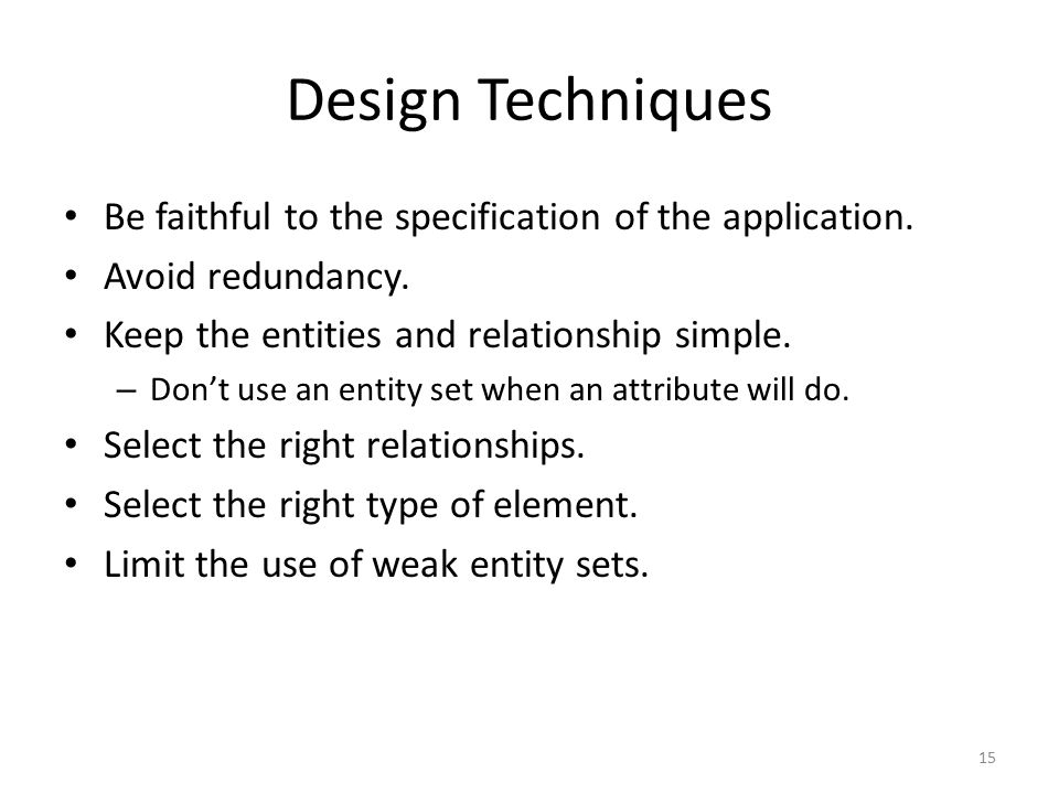 15 Design Techniques Be faithful to the specification of the application.