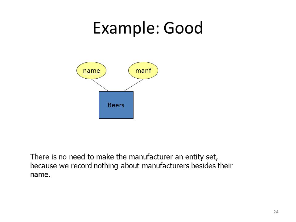 24 Example: Good Beers name There is no need to make the manufacturer an entity set, because we record nothing about manufacturers besides their name.