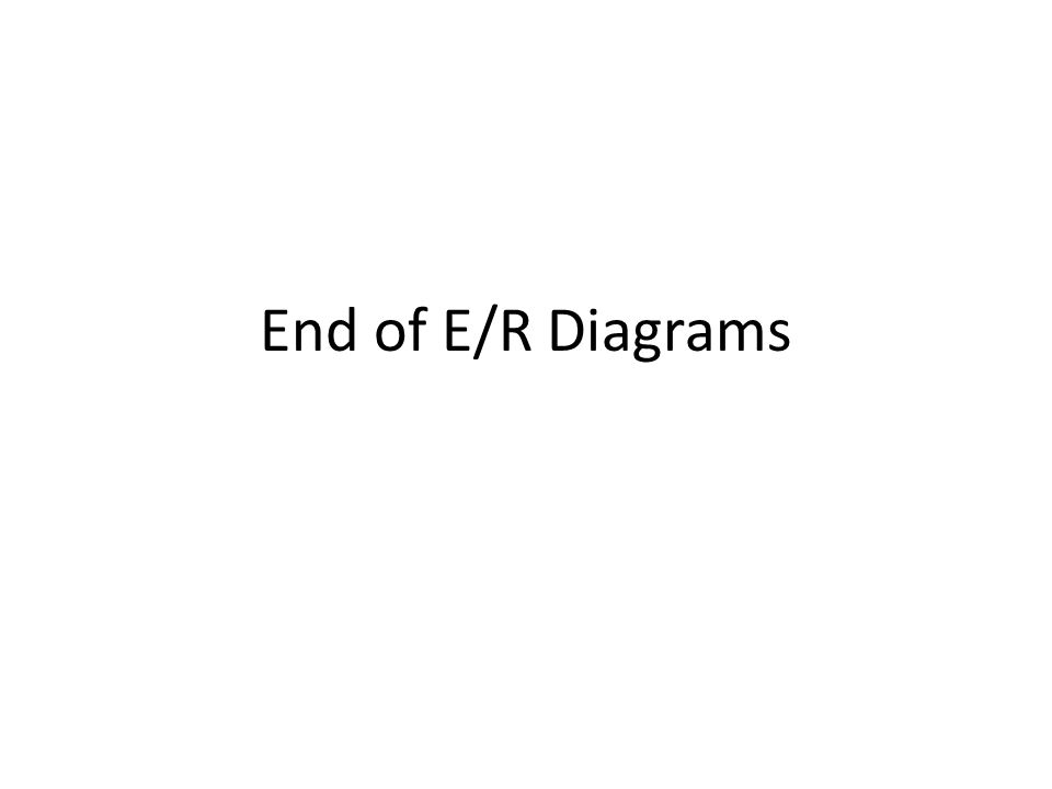 End of E/R Diagrams