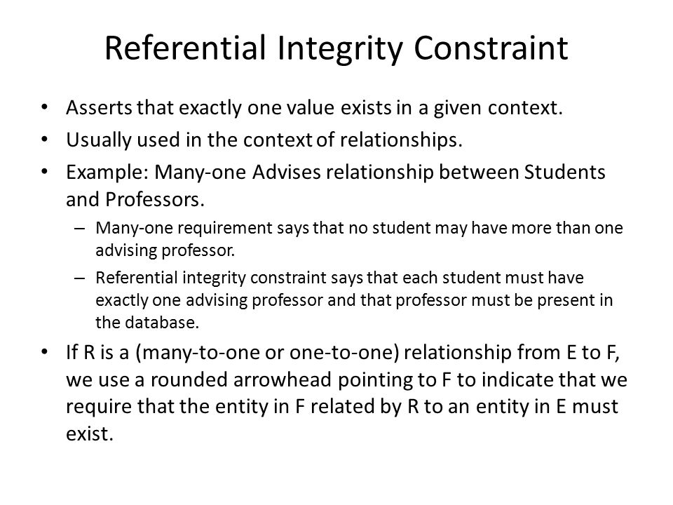 Referential Integrity Constraint Asserts that exactly one value exists in a given context.