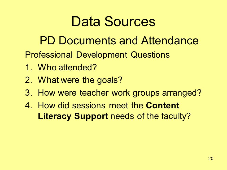 Data Sources PD Documents and Attendance Professional Development Questions 1.Who attended.
