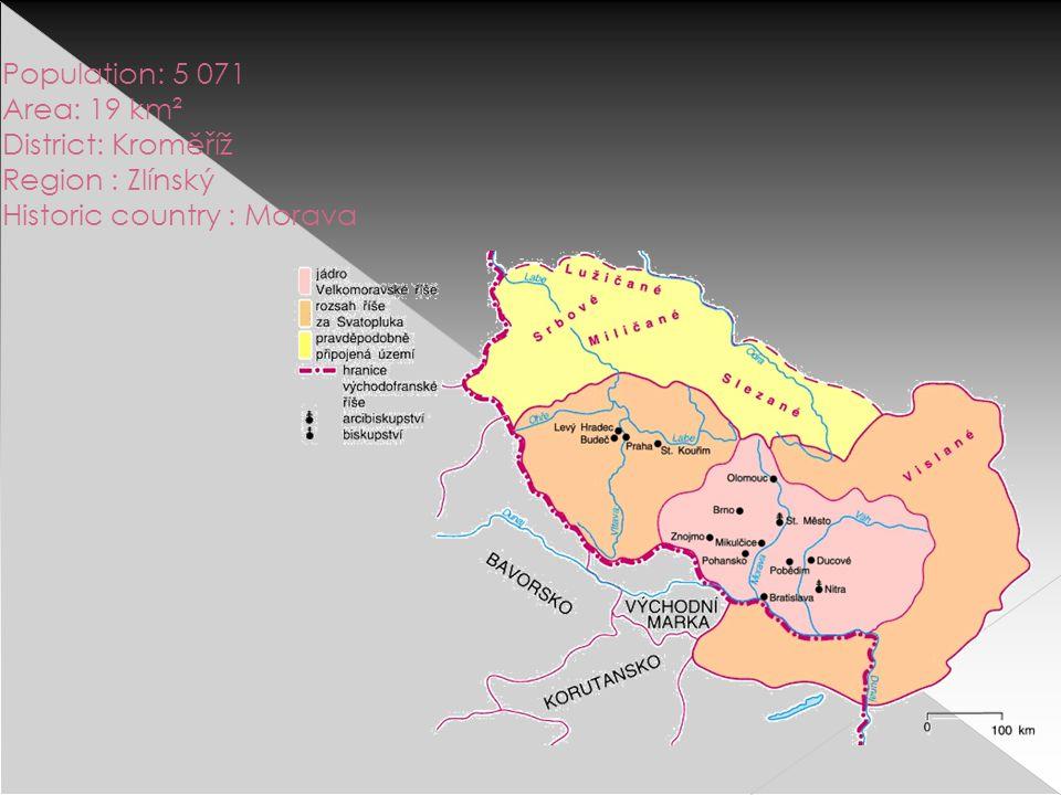 Population: 5 071 Area: 19 km² District: Kroměříž Region : Zlínský Historic country : Morava