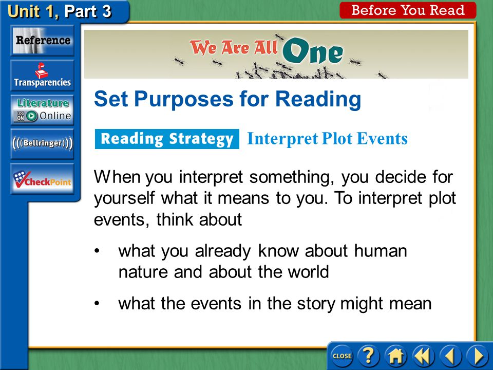 Unit 1, Part 3 Before You Read Set Purposes for Reading Plot is the sequence of events in a story.