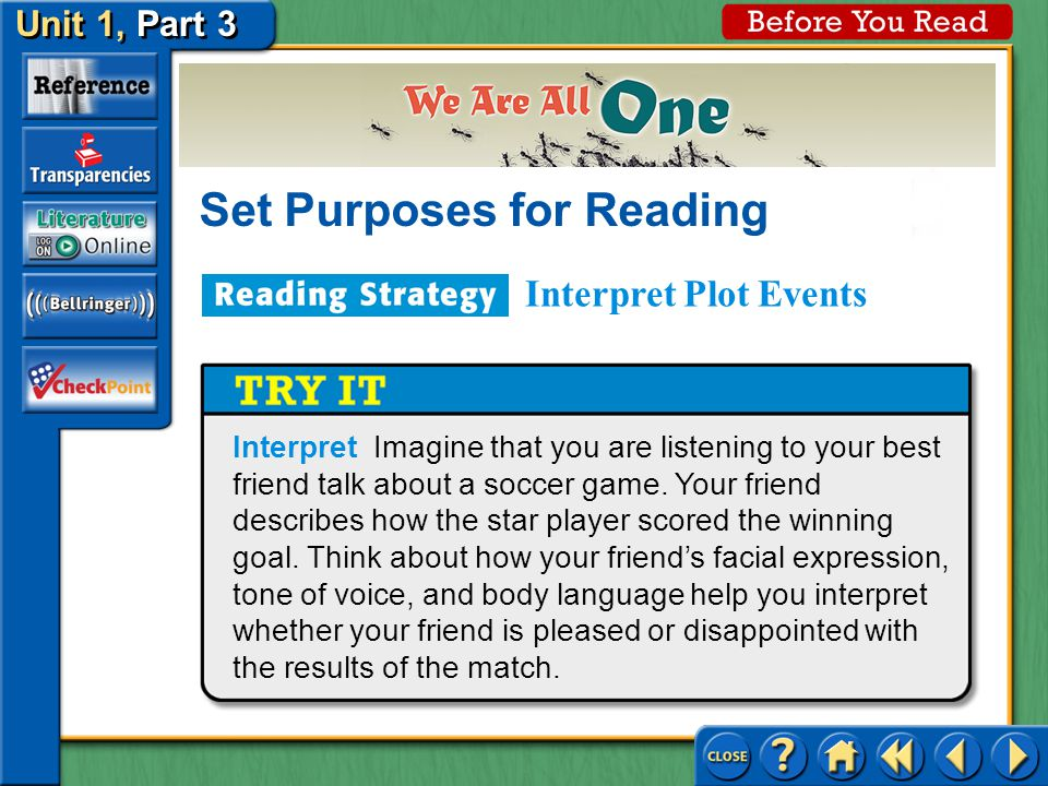 Unit 1, Part 3 Before You Read Set Purposes for Reading Interpret Plot Events Click the image to view the animation.