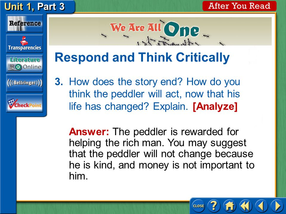 Unit 1, Part 3 Respond and Think Critically 2.When the rich man sees the peddler at the gate, what does he say.