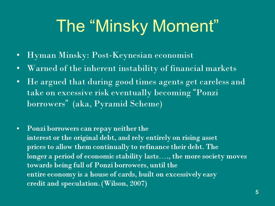 5 The Minsky Moment Hyman Minsky: Post-Keynesian economist Warned of the inherent instability of financial markets He argued that during good times agents get careless and take on excessive risk eventually becoming Ponzi borrowers (aka, Pyramid Scheme) Ponzi borrowers can repay neither the interest or the original debt, and rely entirely on rising asset prices to allow them continually to refinance their debt.
