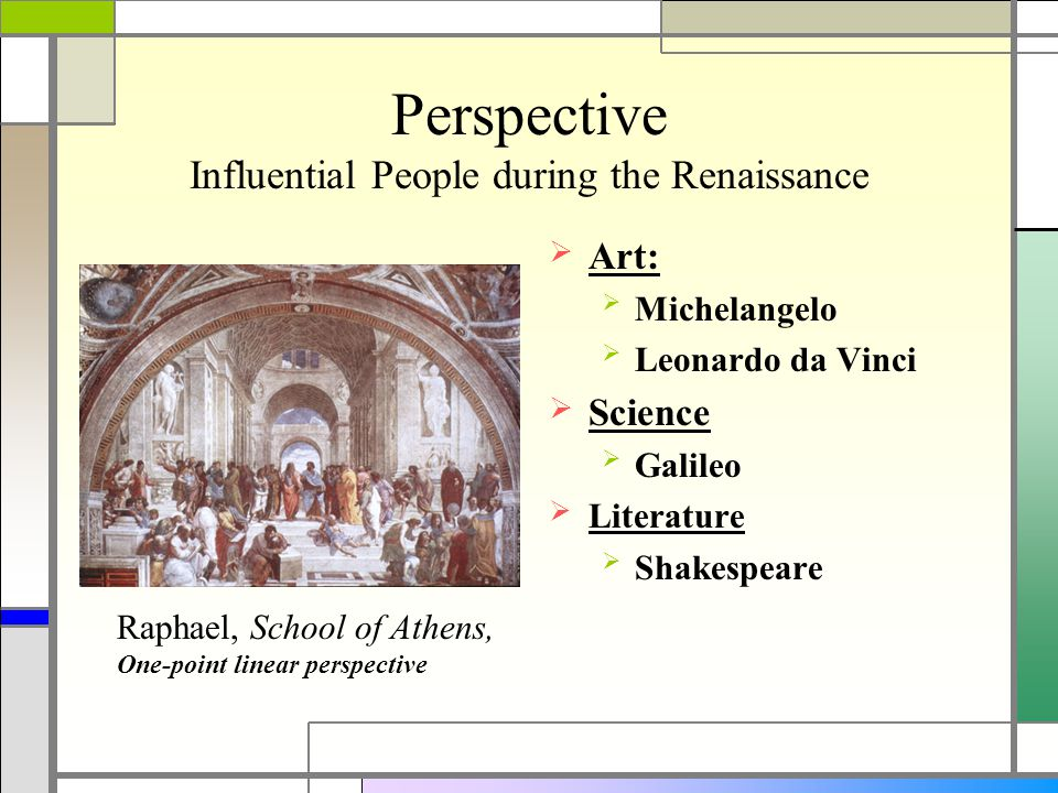 Perspective Influential People during the Renaissance  Art:  Michelangelo  Leonardo da Vinci  Science  Galileo  Literature  Shakespeare Raphael, School of Athens, One-point linear perspective