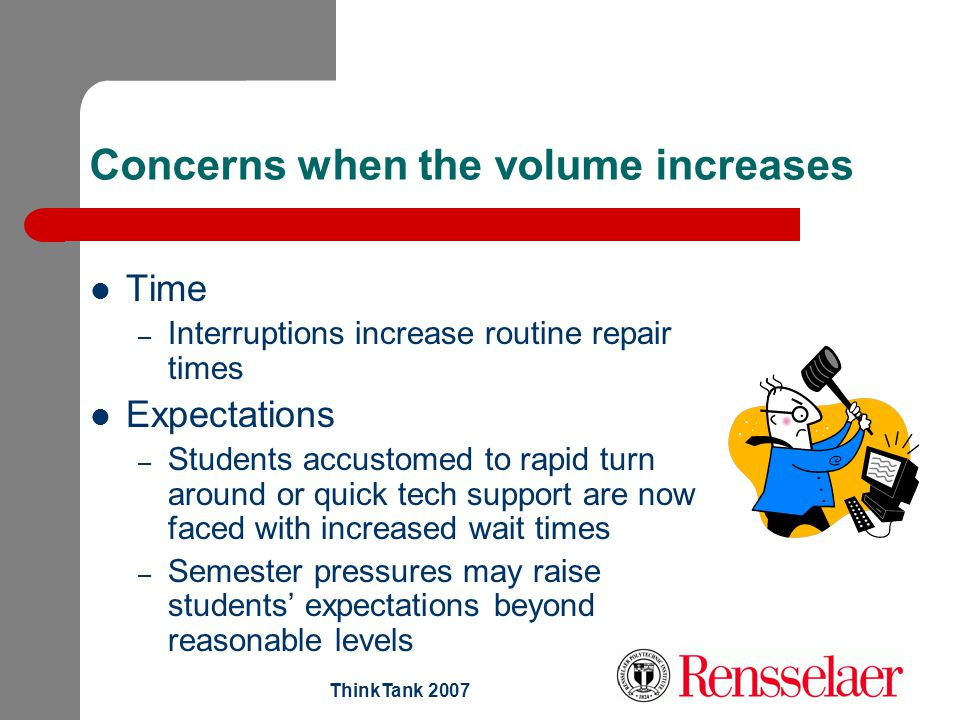 ThinkTank 2007 Concerns when the volume increases Time – Interruptions increase routine repair times Expectations – Students accustomed to rapid turn