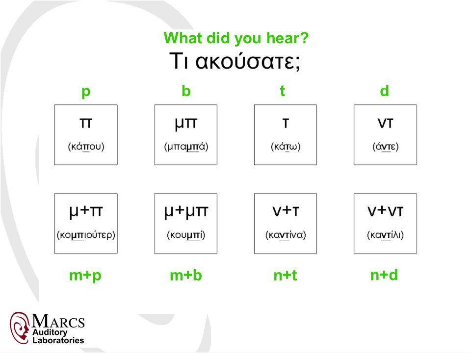 What did you hear? p m+p d n+d b m+b t n+t