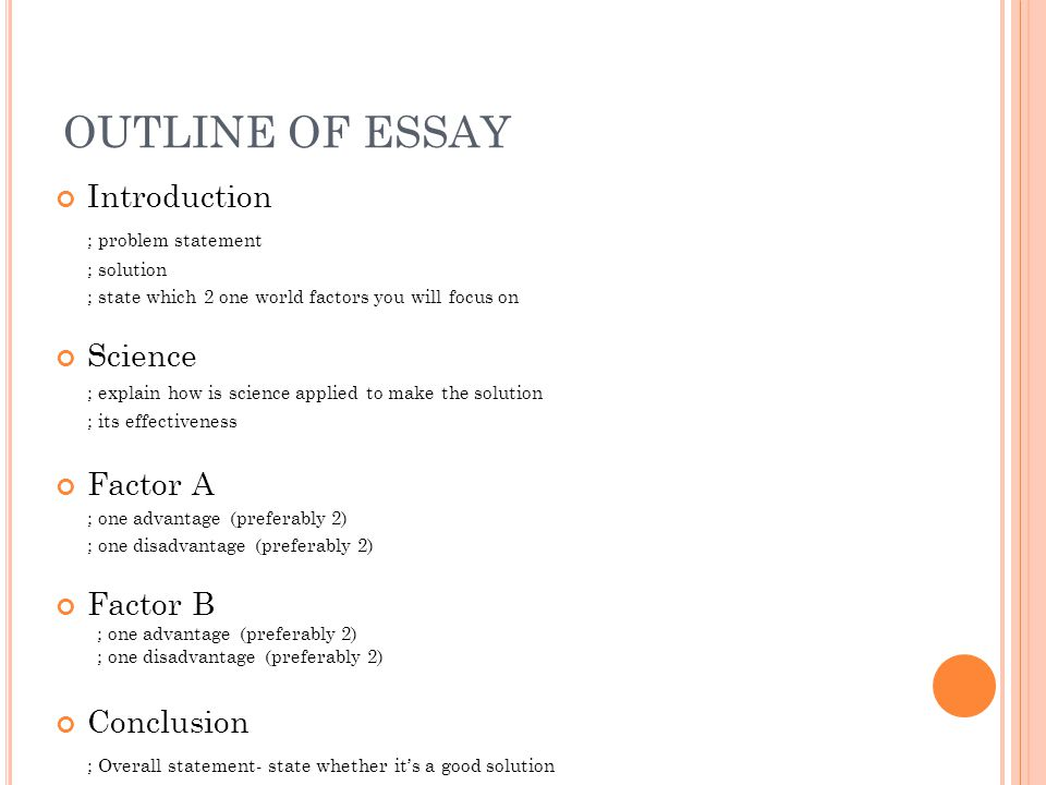 PROBLEM STATEMENT A statement to define a problem Eg. Note: This is NOT the main focus of the essay