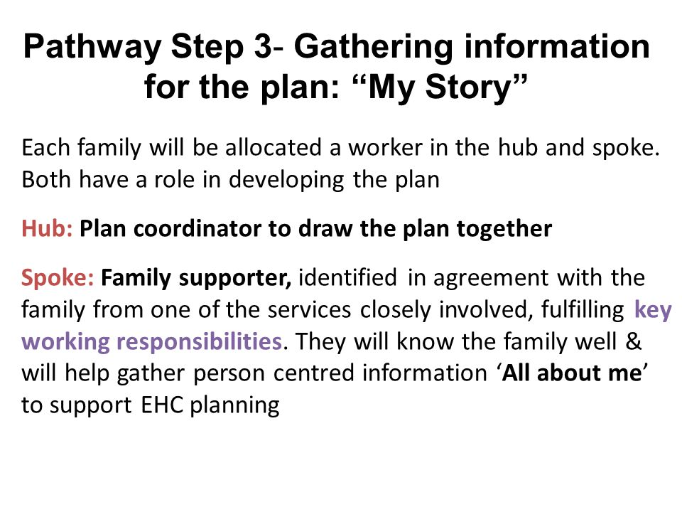 Pathway Step 3- Gathering information for the plan: My Story Each family will be allocated a worker in the hub and spoke.