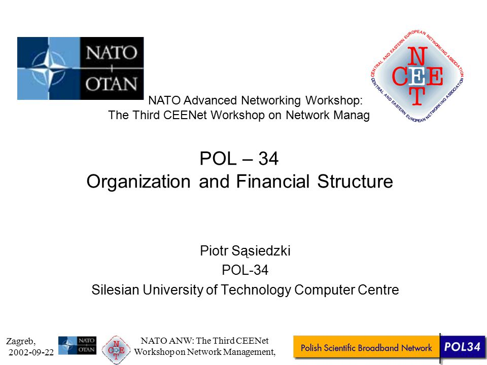 Zagreb, 2002-09-22 NATO ANW: The Third CEENet Workshop on Network Management, Agenda Short brief of POL-34 history Structure Financial part (who pays for it, how) PIONIER programme –network infrastructure part – new model
