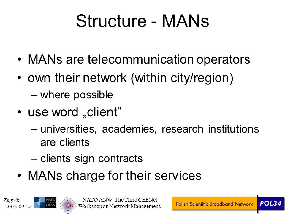 Zagreb, 2002-09-22 NATO ANW: The Third CEENet Workshop on Network Management, Structure Agreement of 22 MAN/Supercomputing centres –not a single company Network management –designated MAN (by contract) –nodes owned and managed by MANs