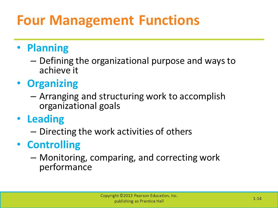 Four Management Functions Planning – Defining the organizational purpose and ways to achieve it Organizing – Arranging and structuring work to accompl