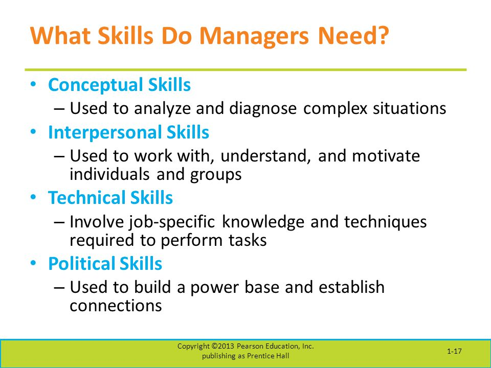What Skills Do Managers Need? Conceptual Skills – Used to analyze and diagnose complex situations Interpersonal Skills – Used to work with, understand