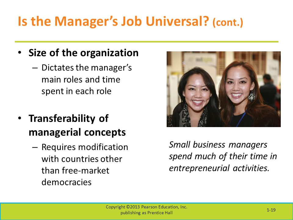 Is the Manager's Job Universal? (cont.) Size of the organization – Dictates the manager's main roles and time spent in each role Transferability of ma