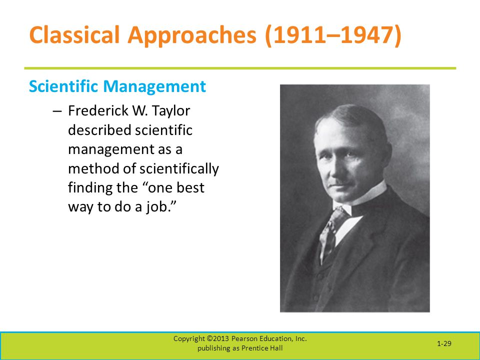 Classical Approaches (1911–1947) Scientific Management – Frederick W. Taylor described scientific management as a method of scientifically finding the