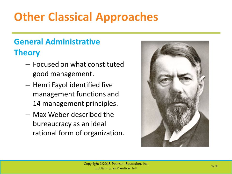 Other Classical Approaches General Administrative Theory – Focused on what constituted good management. – Henri Fayol identified five management funct