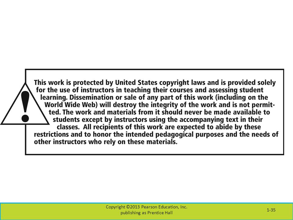 Copyright ©2013 Pearson Education, Inc. publishing as Prentice Hall 1-35