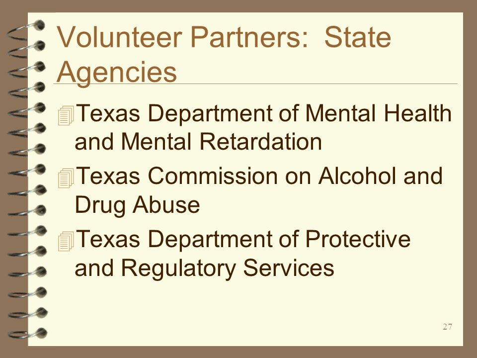 27 Volunteer Partners: State Agencies 4 Texas Department of Mental Health and Mental Retardation 4 Texas Commission on Alcohol and Drug Abuse 4 Texas Department of Protective and Regulatory Services