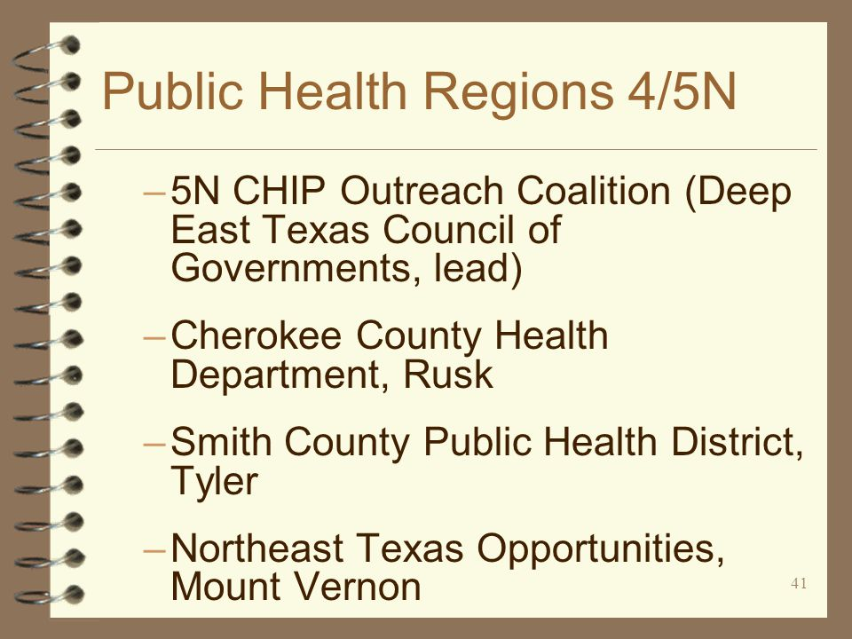 41 Public Health Regions 4/5N –5N CHIP Outreach Coalition (Deep East Texas Council of Governments, lead) –Cherokee County Health Department, Rusk –Smith County Public Health District, Tyler –Northeast Texas Opportunities, Mount Vernon