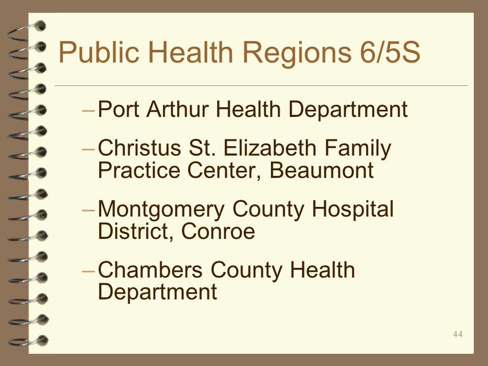 44 Public Health Regions 6/5S –Port Arthur Health Department –Christus St.