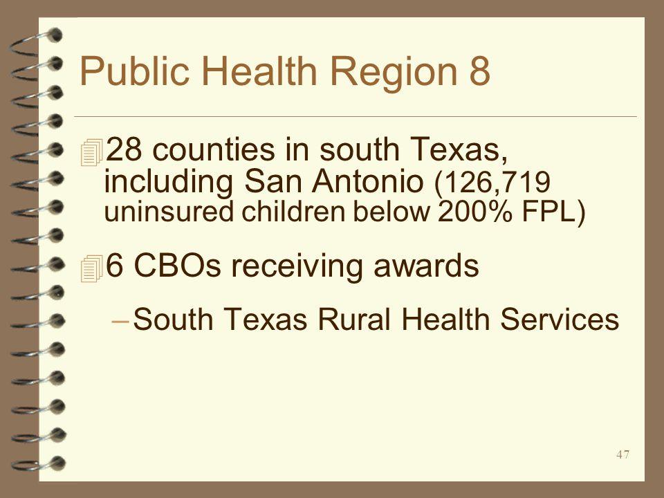 47 Public Health Region 8 4 28 counties in south Texas, including San Antonio (126,719 uninsured children below 200% FPL) 4 6 CBOs receiving awards –South Texas Rural Health Services
