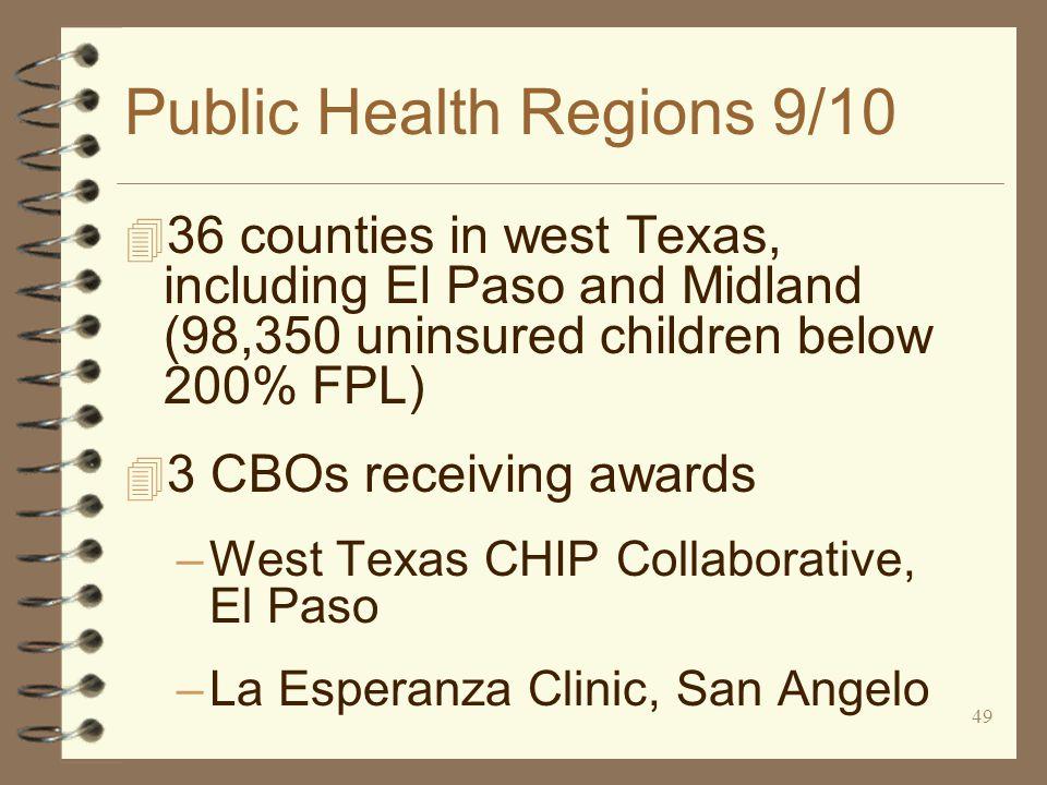 49 Public Health Regions 9/10 4 36 counties in west Texas, including El Paso and Midland (98,350 uninsured children below 200% FPL) 4 3 CBOs receiving awards –West Texas CHIP Collaborative, El Paso –La Esperanza Clinic, San Angelo