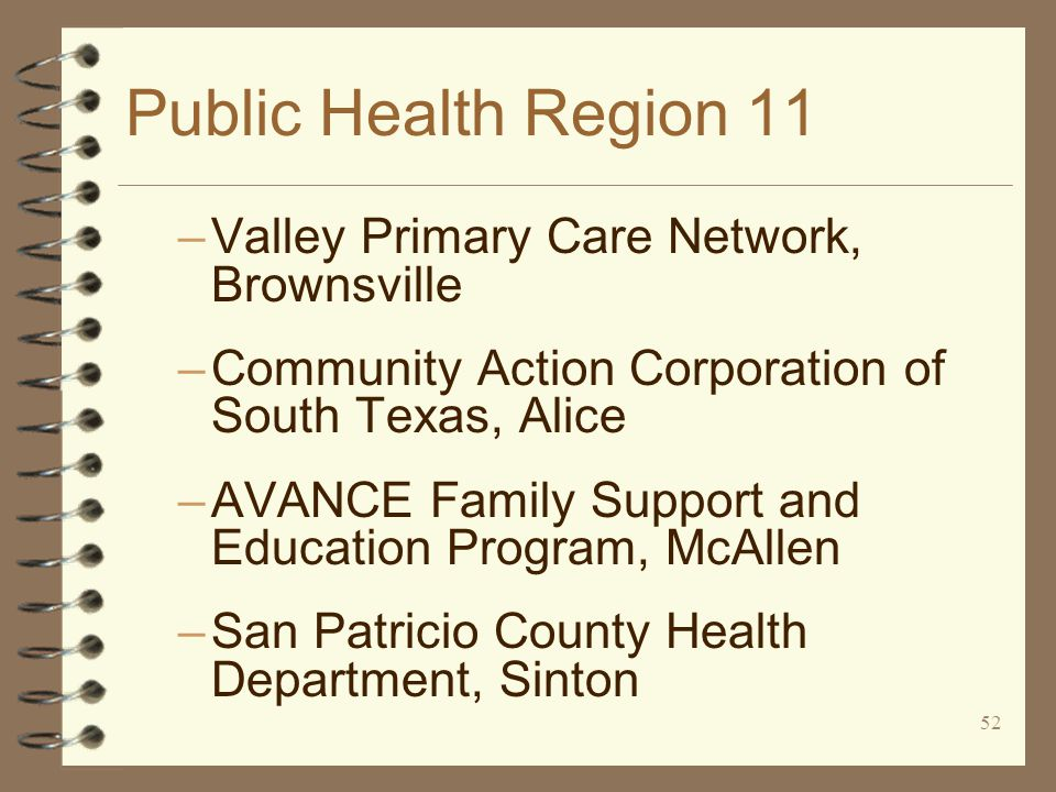 52 Public Health Region 11 –Valley Primary Care Network, Brownsville –Community Action Corporation of South Texas, Alice –AVANCE Family Support and Education Program, McAllen –San Patricio County Health Department, Sinton