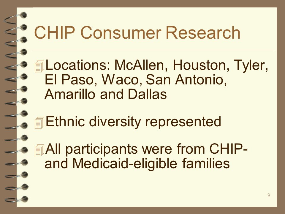 9 CHIP Consumer Research 4 Locations: McAllen, Houston, Tyler, El Paso, Waco, San Antonio, Amarillo and Dallas 4 Ethnic diversity represented 4 All participants were from CHIP- and Medicaid-eligible families