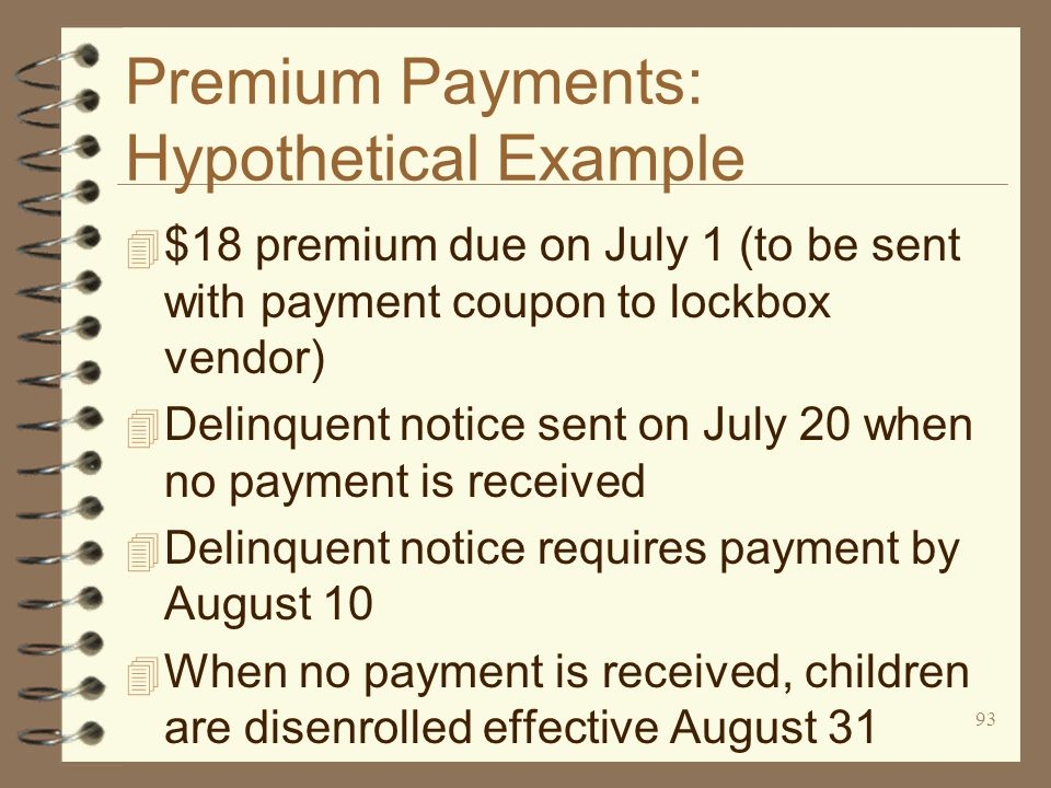 93 Premium Payments: Hypothetical Example 4 $18 premium due on July 1 (to be sent with payment coupon to lockbox vendor) 4 Delinquent notice sent on July 20 when no payment is received 4 Delinquent notice requires payment by August 10 4 When no payment is received, children are disenrolled effective August 31