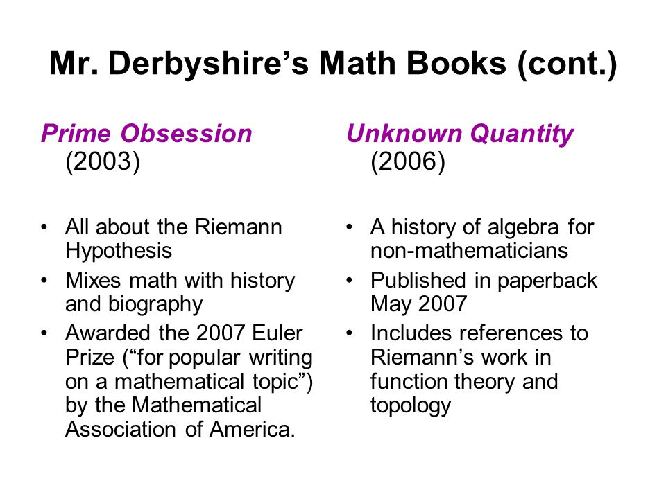 The Chebyshev Bias -- Examples Divide a prime number (other than 2) by 4.