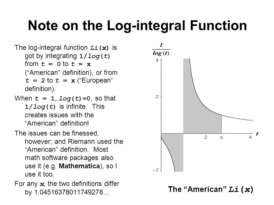 "Note on the Log-integral Function The log-integral function Li(x) is got by integrating 1/log(t) from t = 0 to t = x (""American"" definition), or from"