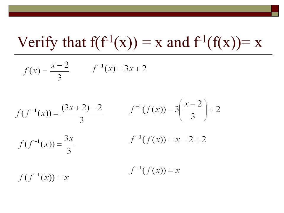 Verify that f(f ¹(x)) = x and f ¹(f(x)) = x
