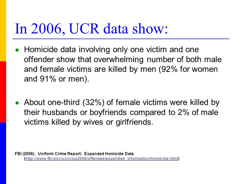 In 2006, UCR data show: ● Homicide data involving only one victim and one offender show that overwhelming number of both male and female victims are k