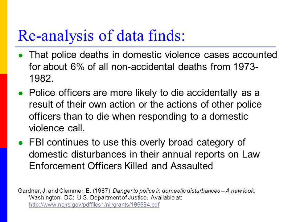 Re-analysis of data finds: ● That police deaths in domestic violence cases accounted for about 6% of all non-accidental deaths from 1973- 1982. ● Poli