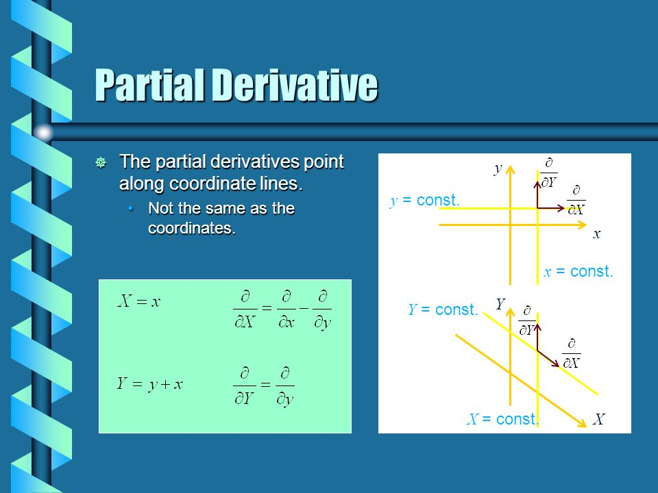 Partial Derivative  The partial derivatives point along coordinate lines. Not the same as the coordinates.Not the same as the coordinates. y = const.
