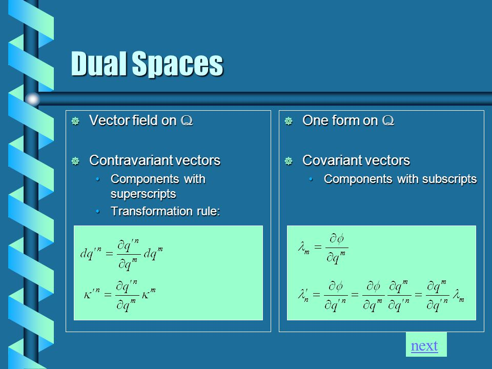Dual Spaces  Vector field on Q  Contravariant vectors Components with superscriptsComponents with superscripts Transformation rule:Transformation rule:  One form on Q  Covariant vectors Components with subscripts next