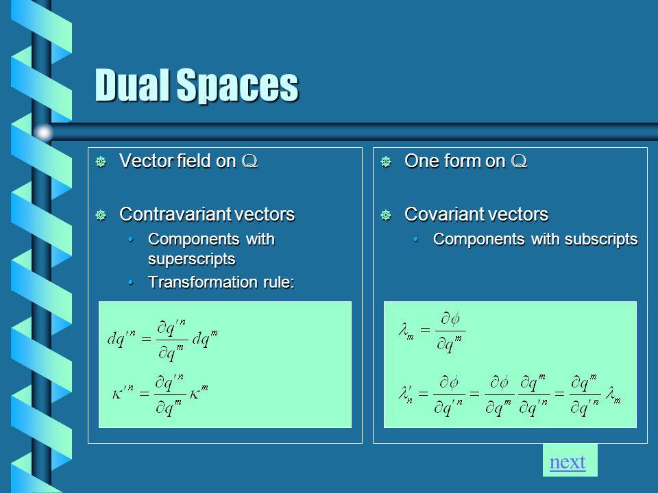 Dual Spaces  Vector field on Q  Contravariant vectors Components with superscriptsComponents with superscripts Transformation rule:Transformation ru