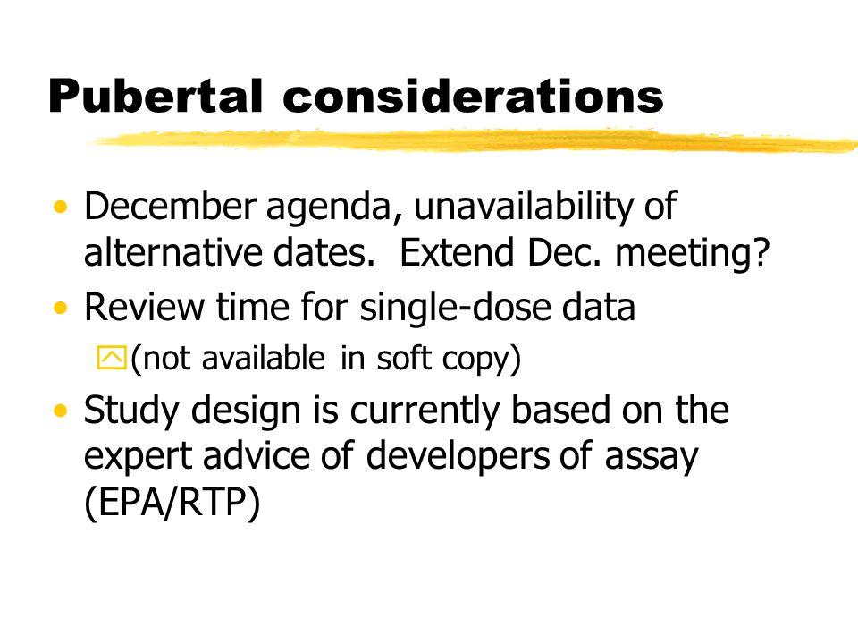 Pubertal considerations December agenda, unavailability of alternative dates.