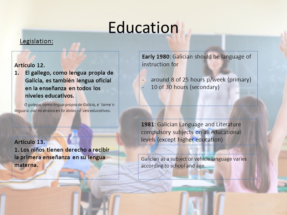 Education Galician as a subject or vehicle language varies according to school and age.