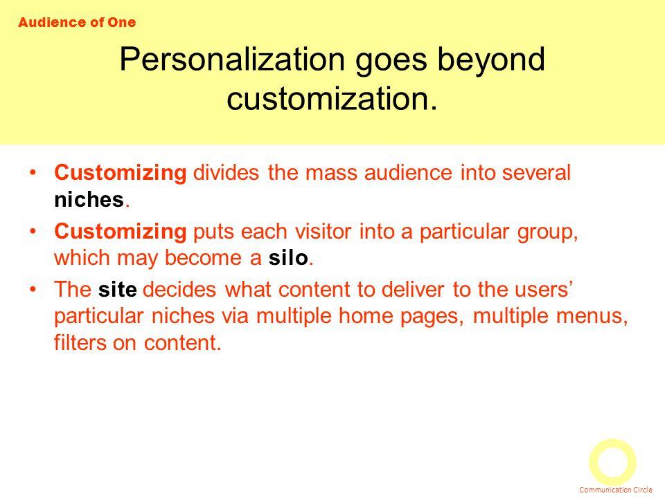Audience of One Communication Circle Personalization goes beyond customization.