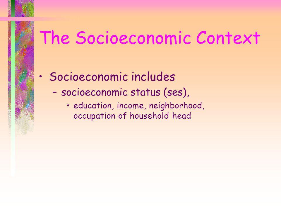 Socioeconomic includes –socioeconomic status (ses), education, income, neighborhood, occupation of household head The Socioeconomic Context