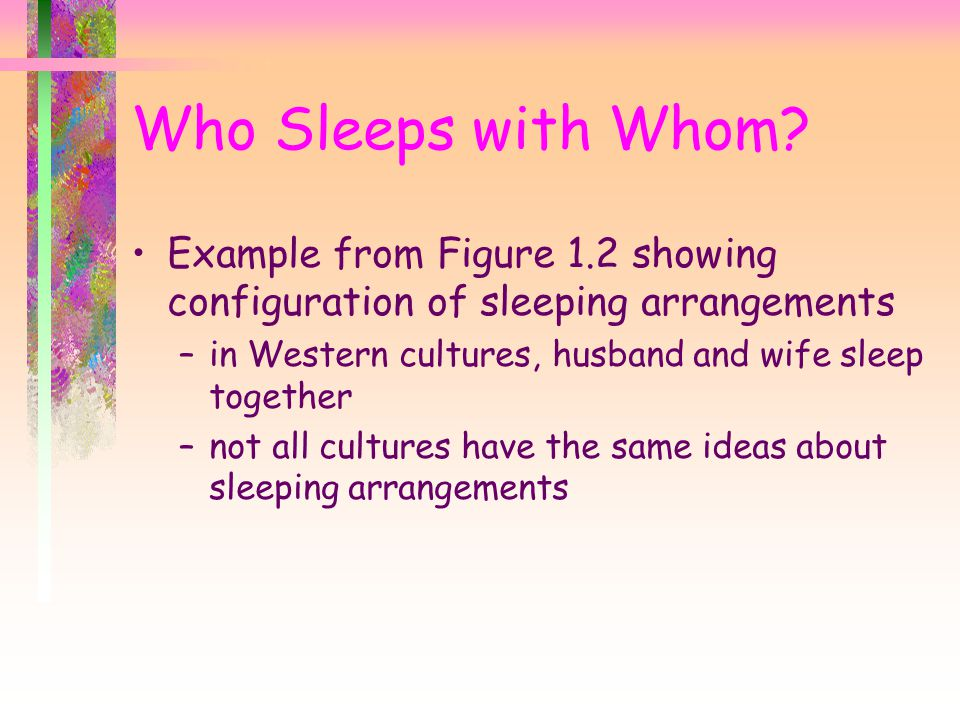 Who Sleeps with Whom? Example from Figure 1.2 showing configuration of sleeping arrangements –in Western cultures, husband and wife sleep together –no