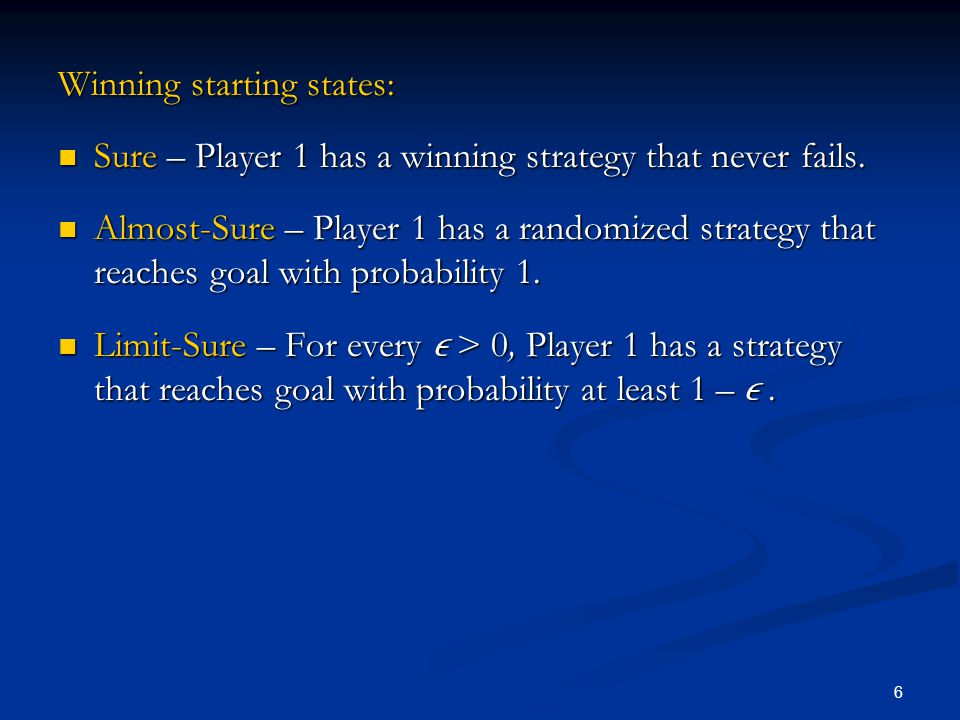 6 Winning starting states: Sure – Player 1 has a winning strategy that never fails. Sure – Player 1 has a winning strategy that never fails. Almost-Su