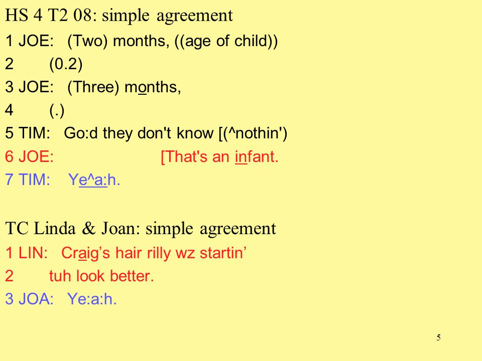 5 HS 4 T2 08: simple agreement 1 JOE: (Two) months, ((age of child)) 2 (0.2) 3 JOE: (Three) months, 4 (.) 5 TIM: Go:d they don t know [(^nothin ) 6 JOE: [That s an infant.