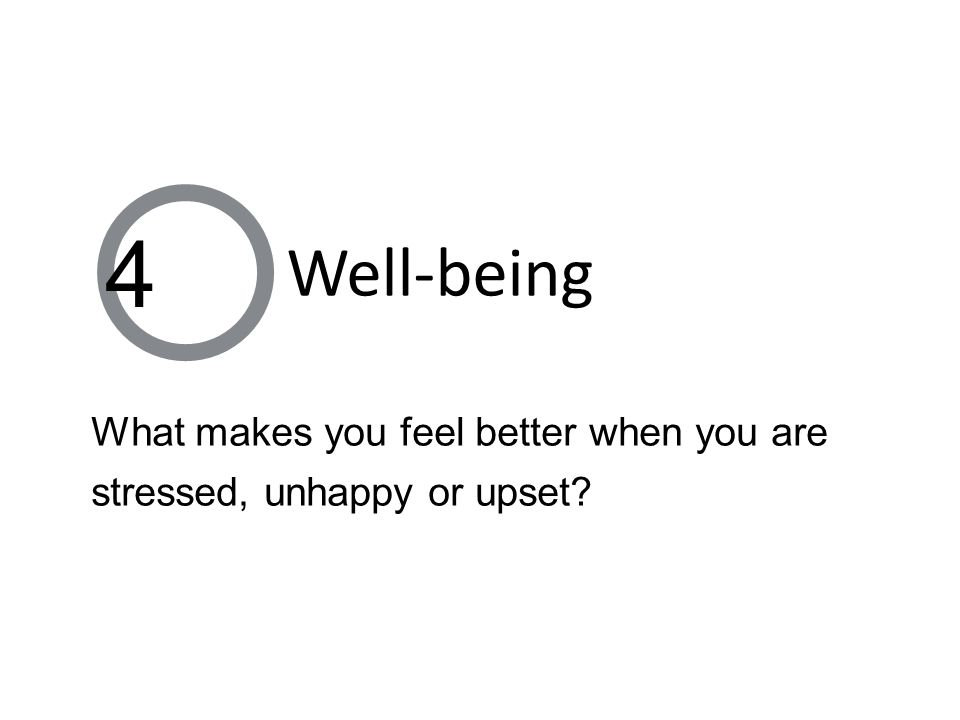 What makes you feel better when you are stressed, unhappy or upset 4 Well-being