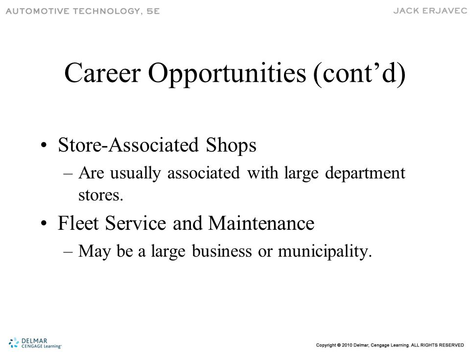 Career Opportunities (cont'd) Store-Associated Shops –Are usually associated with large department stores.