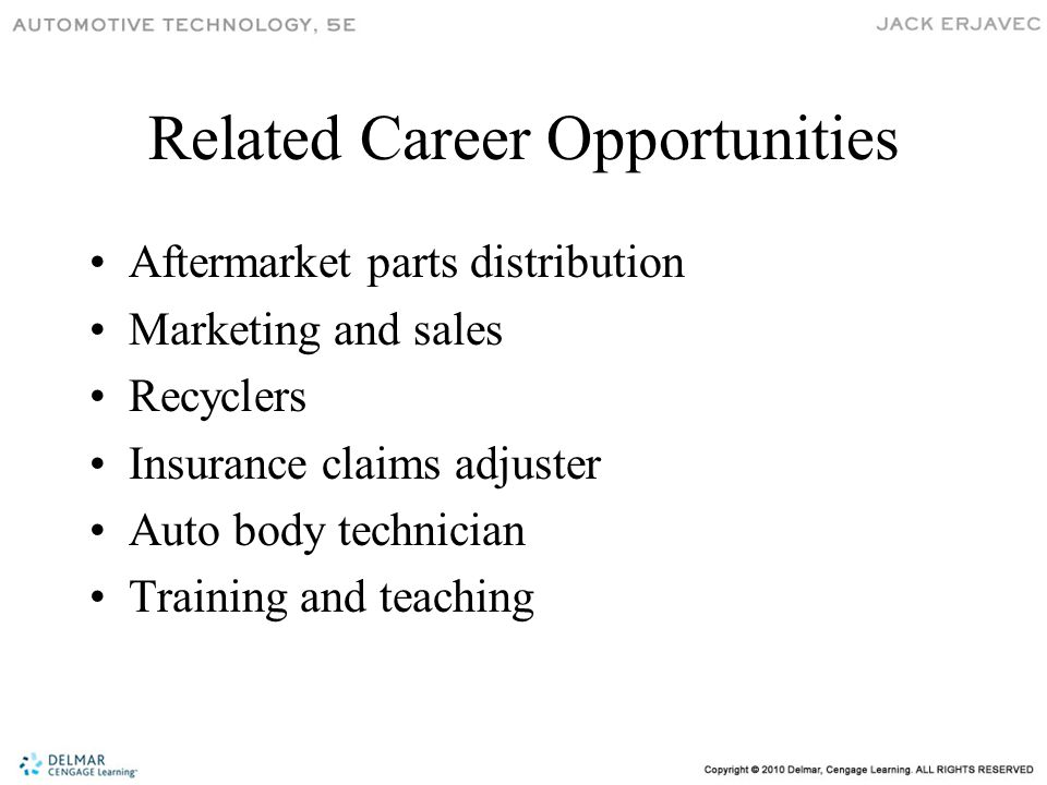 Related Career Opportunities Aftermarket parts distribution Marketing and sales Recyclers Insurance claims adjuster Auto body technician Training and teaching